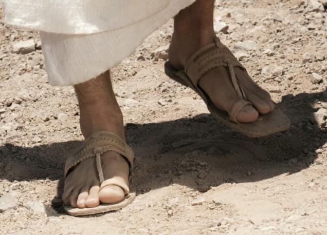 Wearing Jesus shoes.
